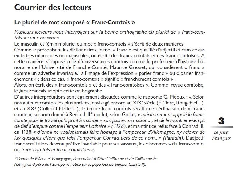 Le Jura Français Courrier des lecteurs N°302 page 3