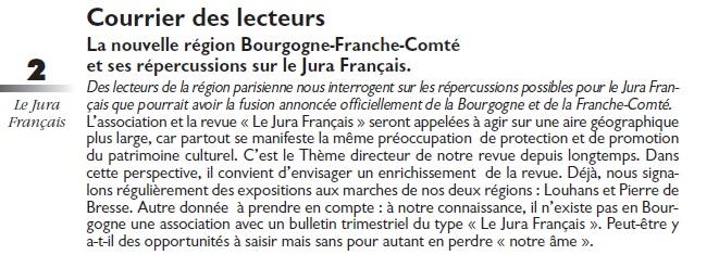 Le Jura Français Courrier des lecteurs N°303 page 2