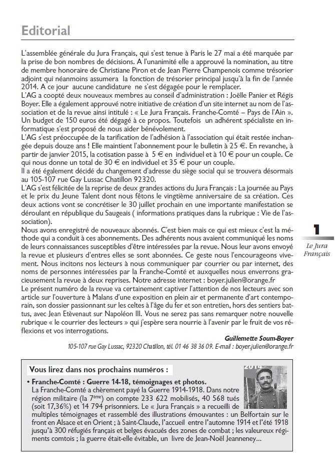 Le Jura Français Editorial N°302 page1