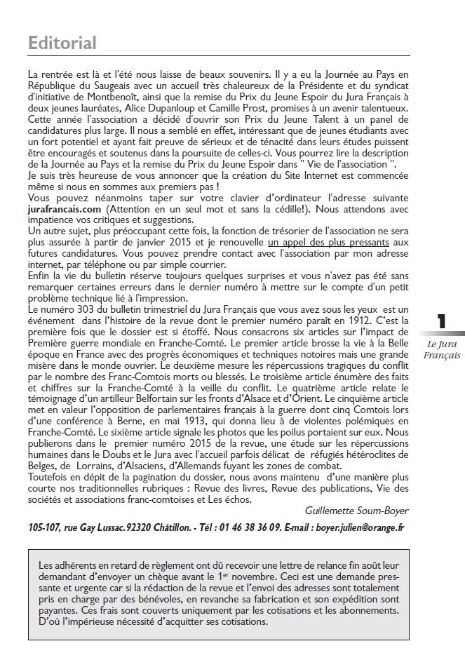 Le Jura Français Editorial N°303 page1