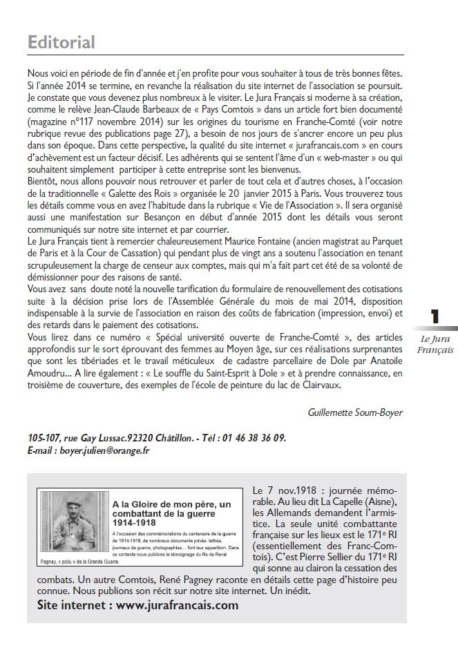 Le Jura Français Editorial N°304 page1