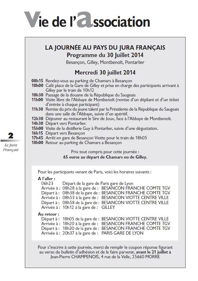 Le Jura Français Vie de l'association N°302 page 2