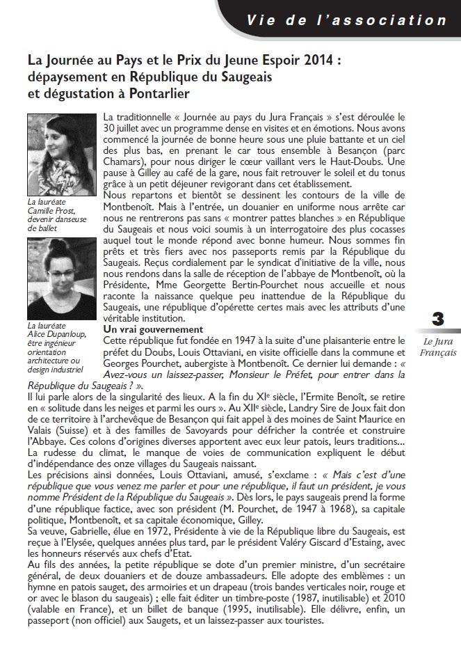 Le Jura Français Vie de l'association N°303 page 3