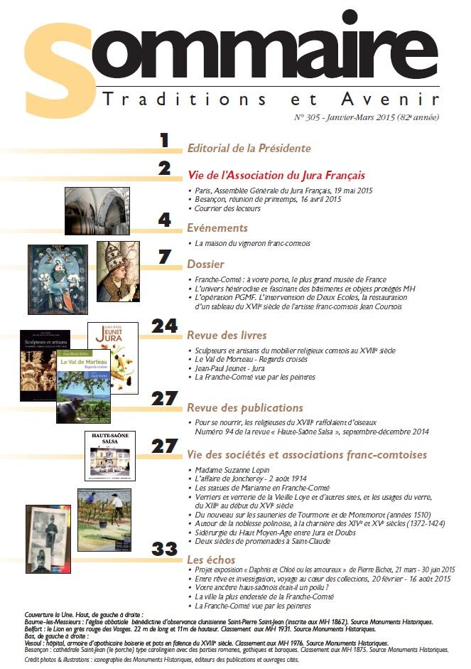 Sommaire Jura Français N 305 Janvier - Mars 2015