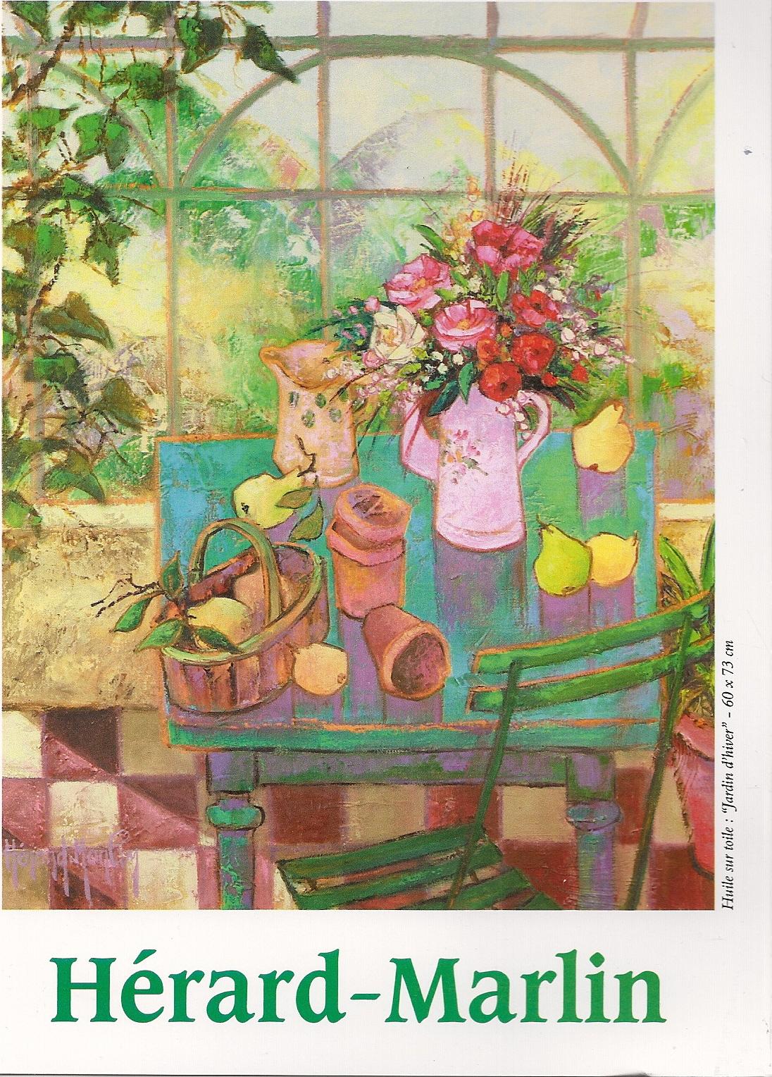 Josette Hérard-Marlin, Flyer page 1, Huile sur Toile, Jardin d hiver