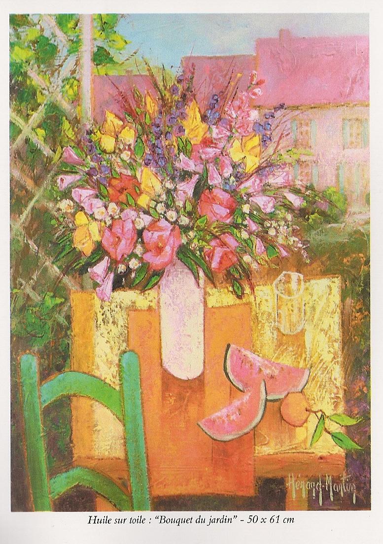 Josette Hérard-Marlin, Flyer page 4, Huile sur Toile, Bouquet du Jardin