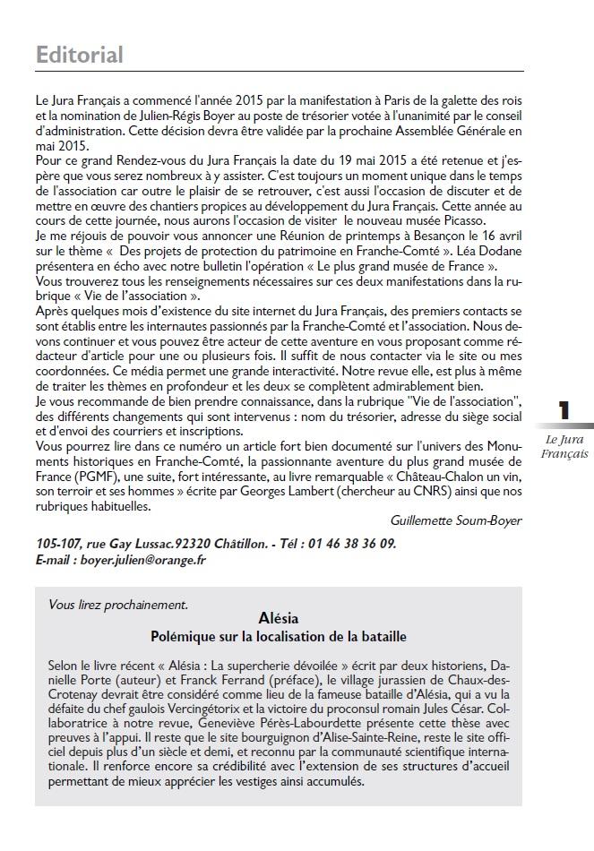 Le Jura Français Editorial N°305