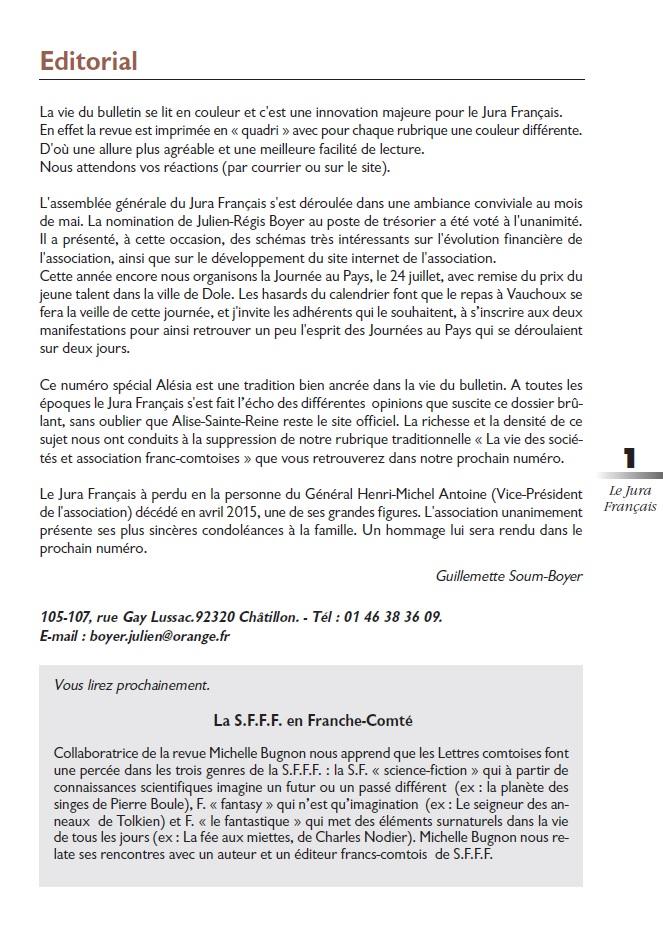 Le Jura Français Editorial N°306