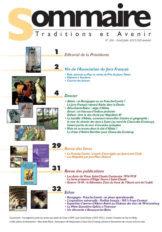 Sommaire Jura Français N 306 Avril - Juin 2014 2015