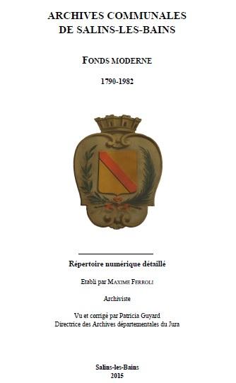 Archives communales de Salin les Bains Maxime Ferroli