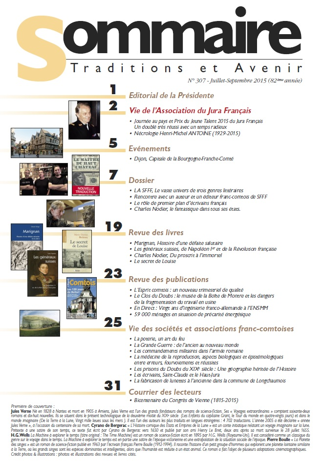Sommaire Jura Francais N 307 Juillet - Septembre 2015