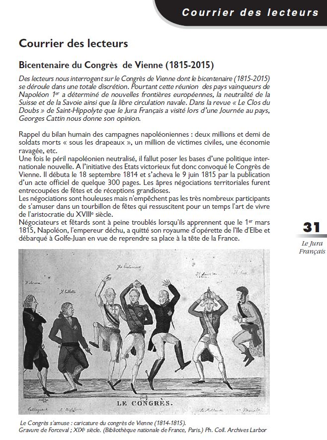Le Jura Francais Courrier des lecteurs N 307 page 31