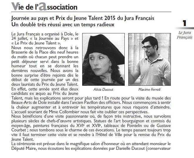 Le Jura Francais Vie de l association N 307 page 1