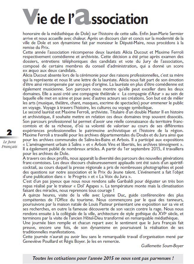 Le Jura Francais Vie de l association N 307 page 2