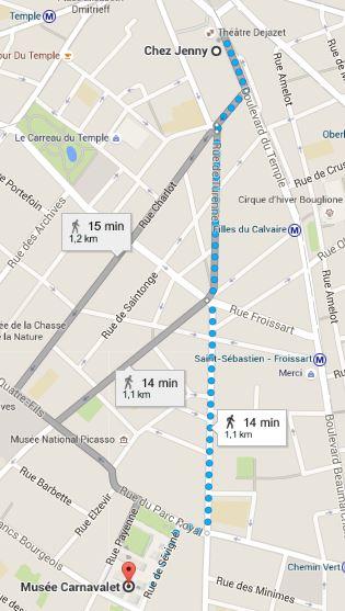 Musée carnavalet Jenny - carnavalet itinéraire a pied