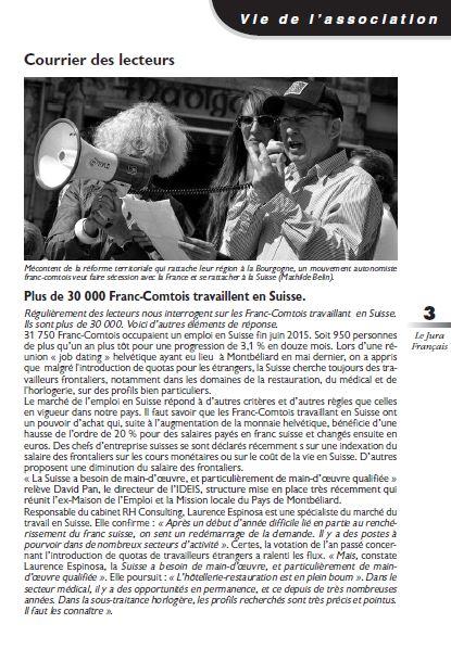 Le Jura Français Courrier des lecteurs N 308 page 3