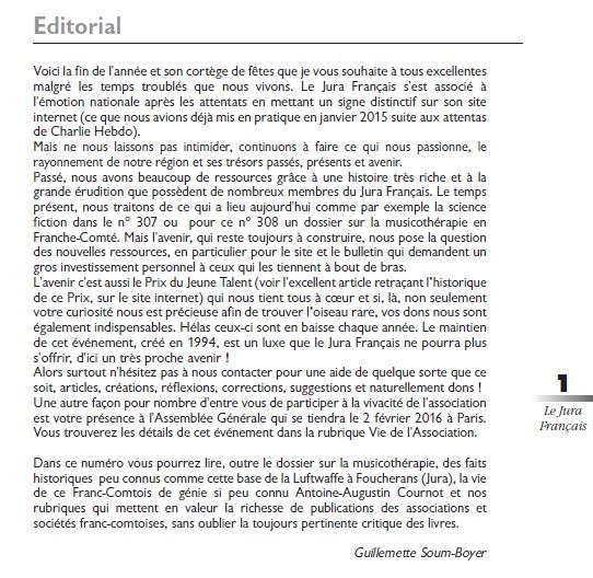 Le Jura Français Editorial N 308