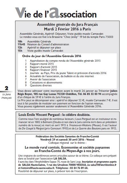 Le Jura Français Vie de l association N 308 page 2