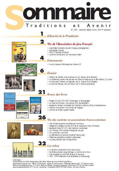 Sommaire Jura Français N 309 Janvier - Mars 2016