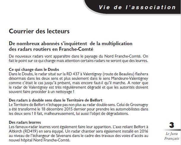 Le Jura Francais Courrier des lecteurs N 309 page 3