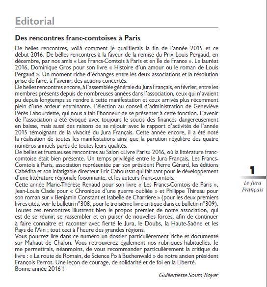 Le Jura Francais Editorial N 309 page1