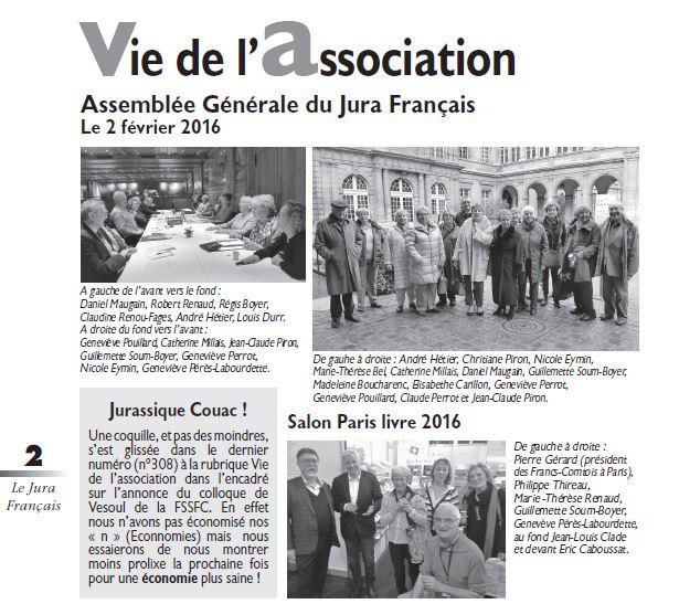 Le Jura Francais Vie de l'association N 309 page 2
