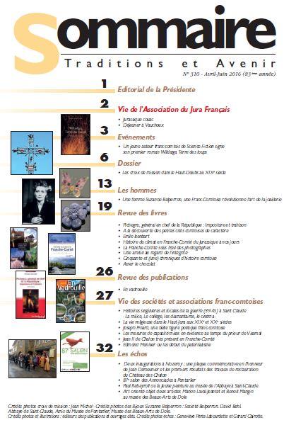 Sommaire Jura Francais N 310 Avril - Juin 2016