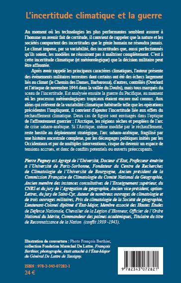 L incertitude climatique et la guerre par Pierre Pagney - ed. L'harmattan