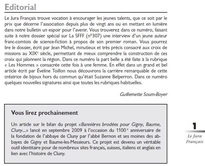 Le Jura Francais Editorial N°310 page1