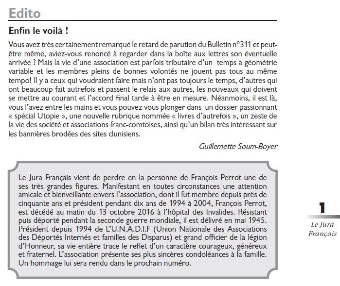 Le Jura Francais Editorial N°311 page 1