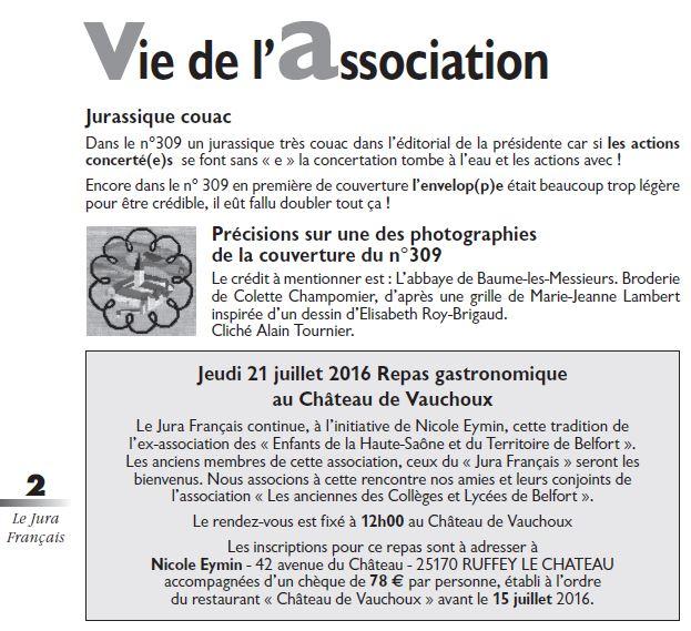 Le Jura Francais Vie de l association N°310 page 2