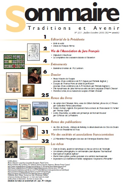 Sommaire Jura Francais N°311 juillet-octobre 2016