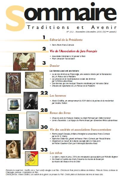 Sommaire Jura Francais N 312 Novembre - Decembre 2016