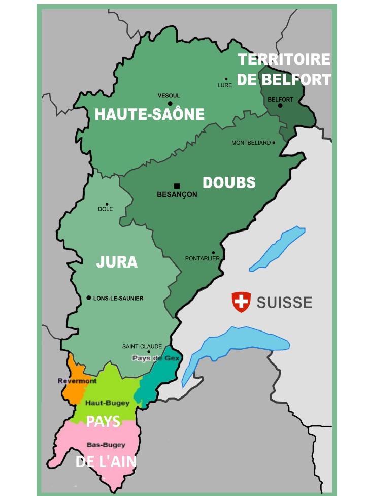 Carte du Jura Francais la Franche-Comte et les Pays de l Ain
