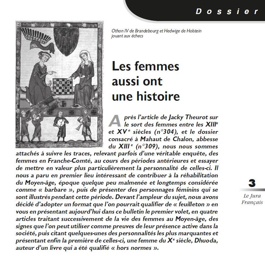 Le Jura Francais Dossier N°312 page 3-1 Introduction au Dossier Les Femmes aussi ont une Histoire