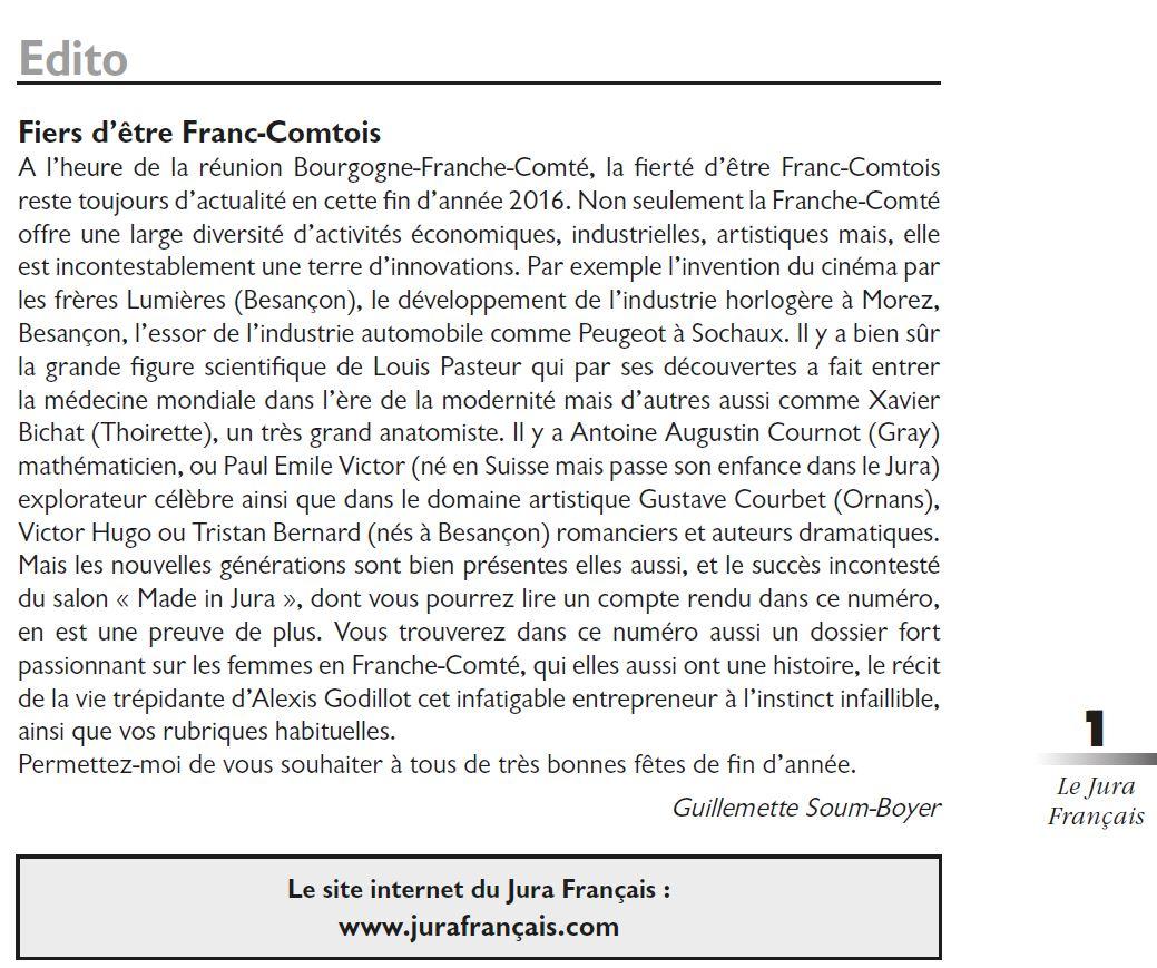 Le Jura Francais Editorial N°312 page 1