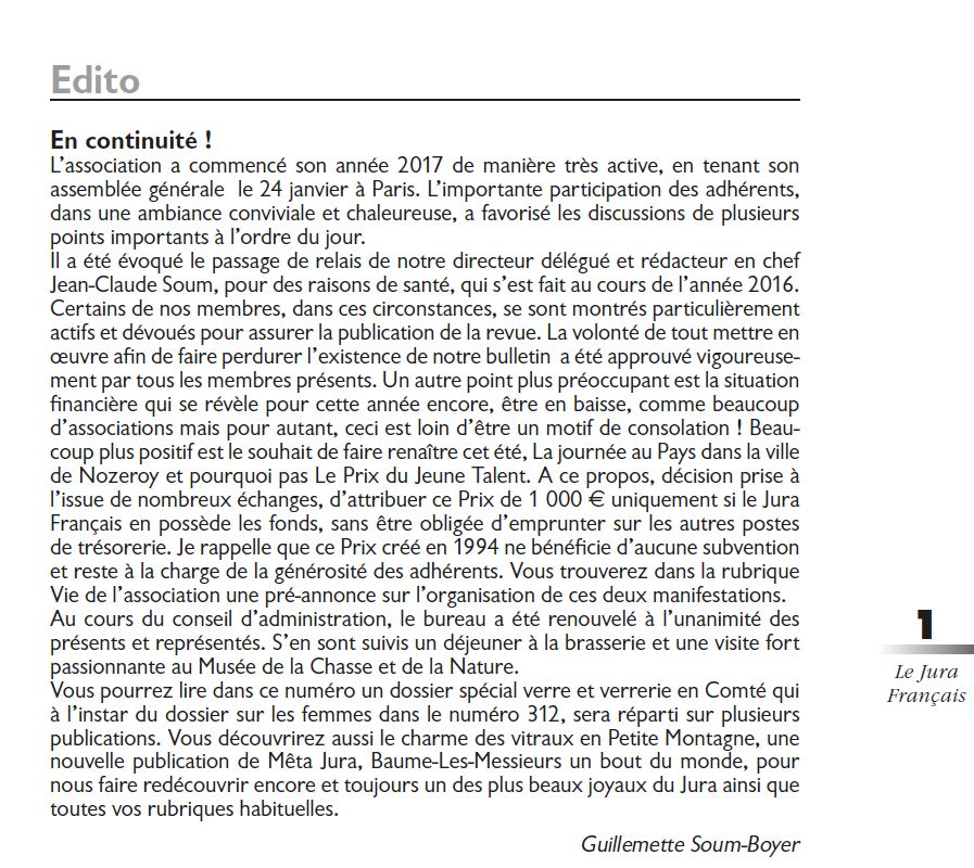 Le Jura Francais Editorial N 313 page1