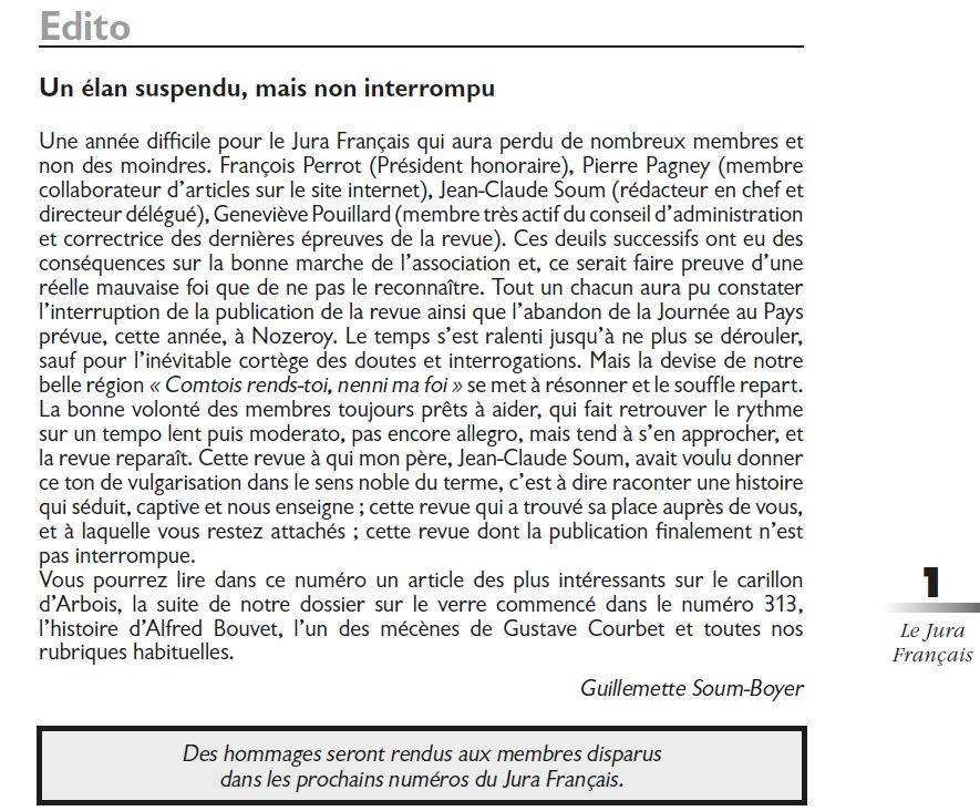 Le Jura Francais Editorial N 314 page1