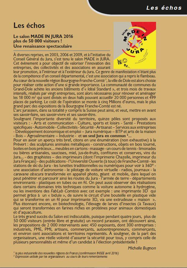 Le Jura Francais N°312 Echos 3ieme de couverture