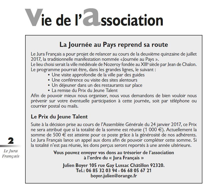 Le Jura Francais Vie de l association N 313 page 2-1 Journee au Pays et Prix du Jeune Talent