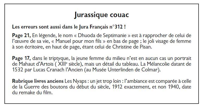Le Jura Francais Vie de l'association N 313 page 2-2 Jurassique couac