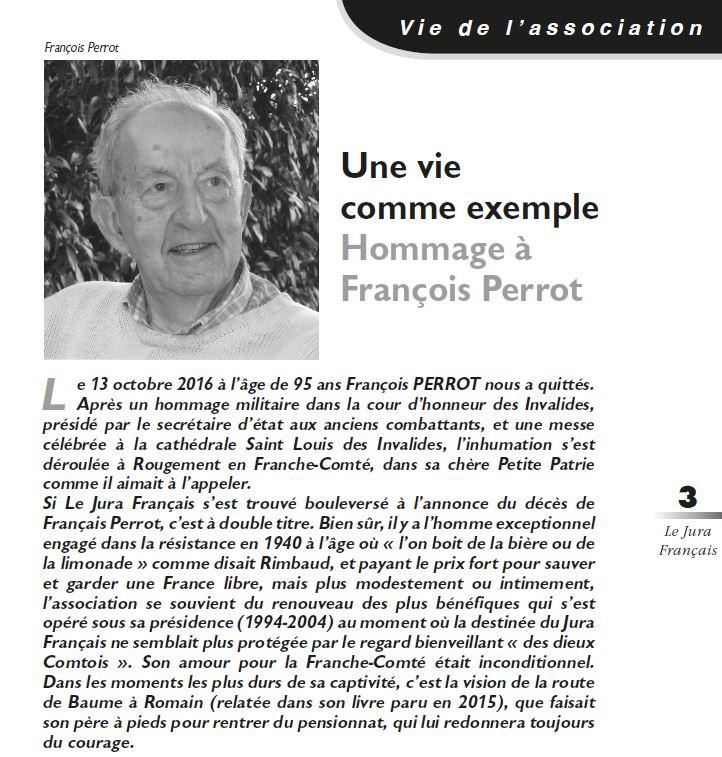 Le Jura Francis Vie de l'association N 313 page 3 Hommage a Francois Perrot