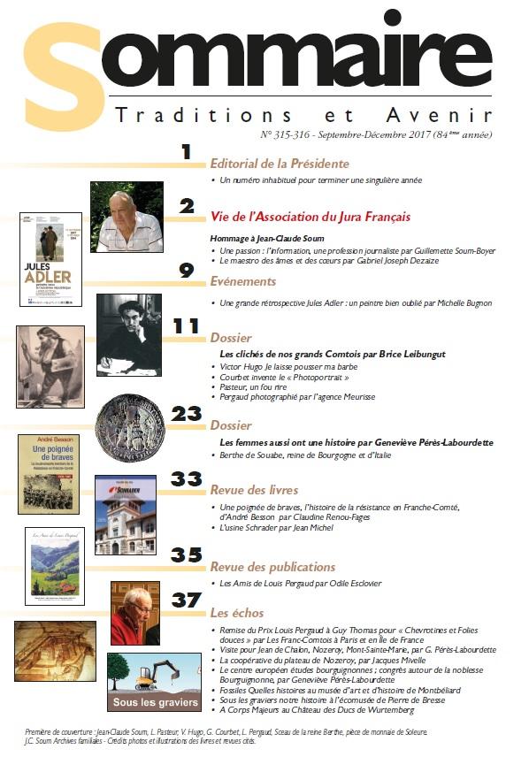 Sommaire Jura Francais N 315-316 Septembre - Decembre 2017