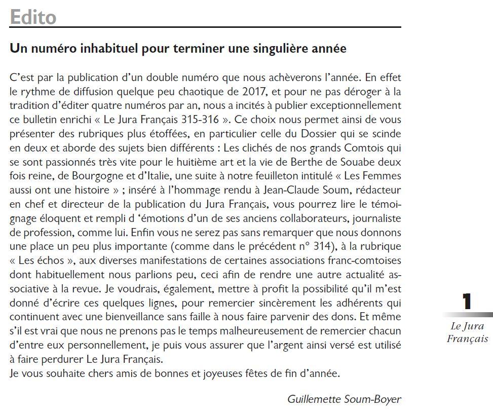 Le Jura Francais Editorial N 315-316 page1