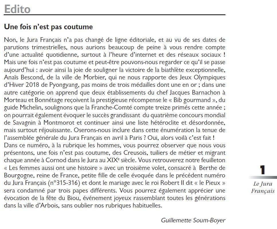 Le Jura Francais Editorial N 317 page1