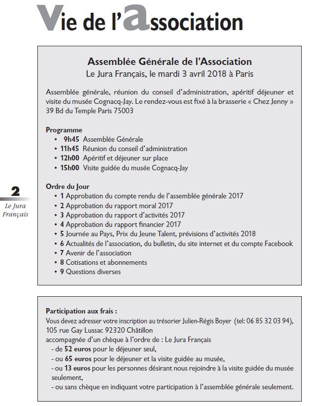 Le Jura Francais Vie de l'association N 317 page 2