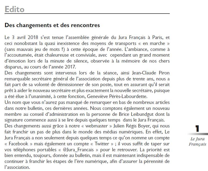 Le Jura Français Editorial N 318 page1-2