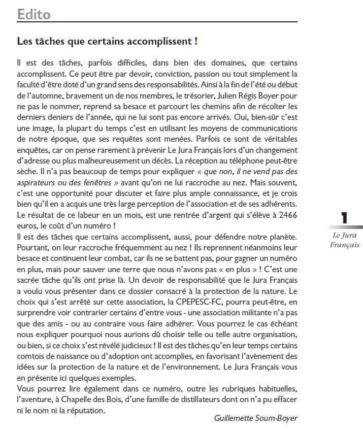 Le Jura Français Editorial N 319 page1