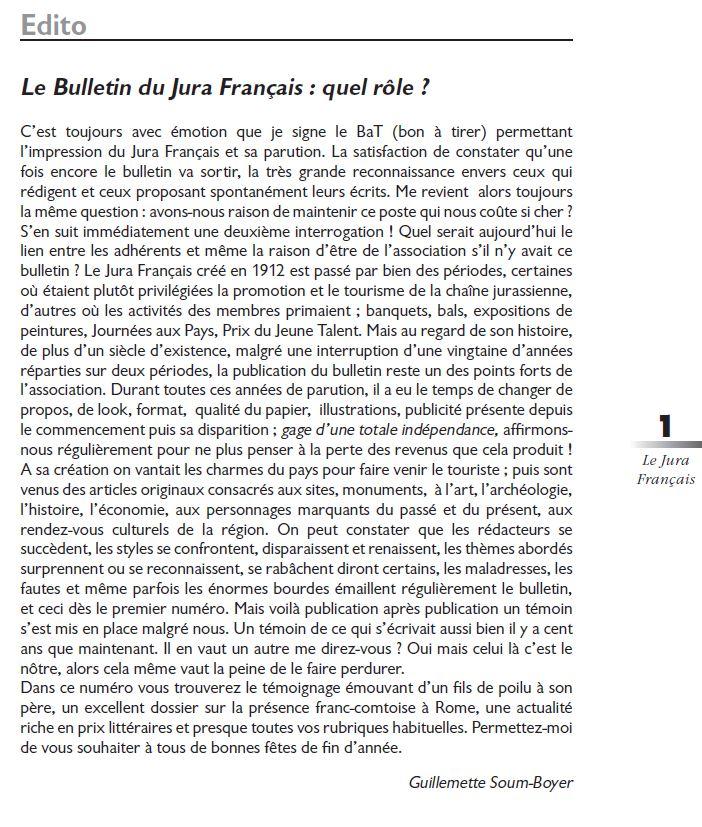 Le Jura Français Editorial N 320 page1