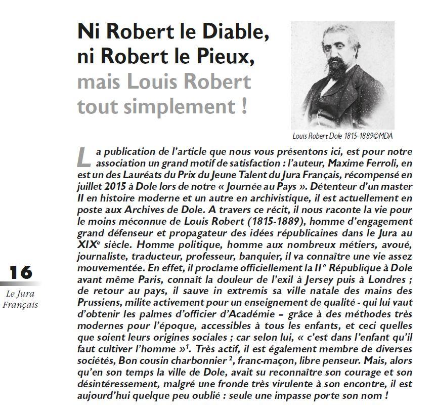Le Jura Français Les hommes N 318 page 16